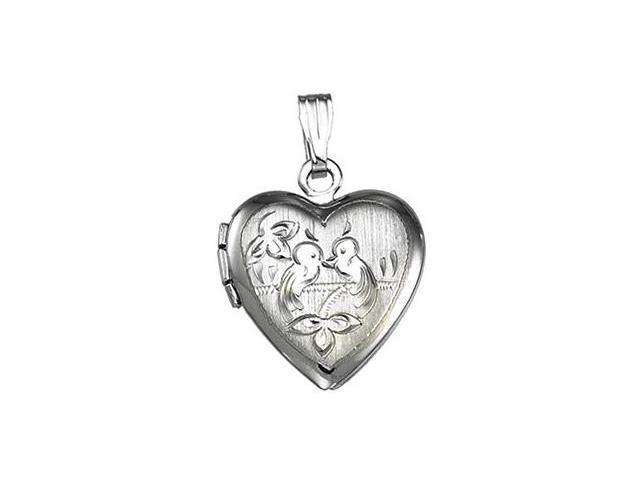 Genuine Sterling Silver Heart with Birds Locket with a chain