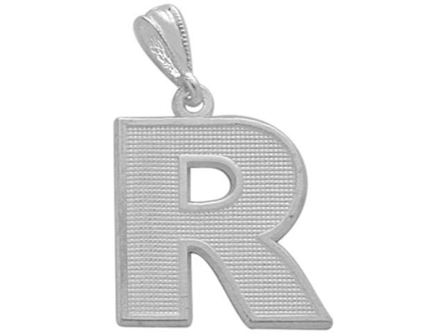 Sterling Silver Initial R Pendant with Chain