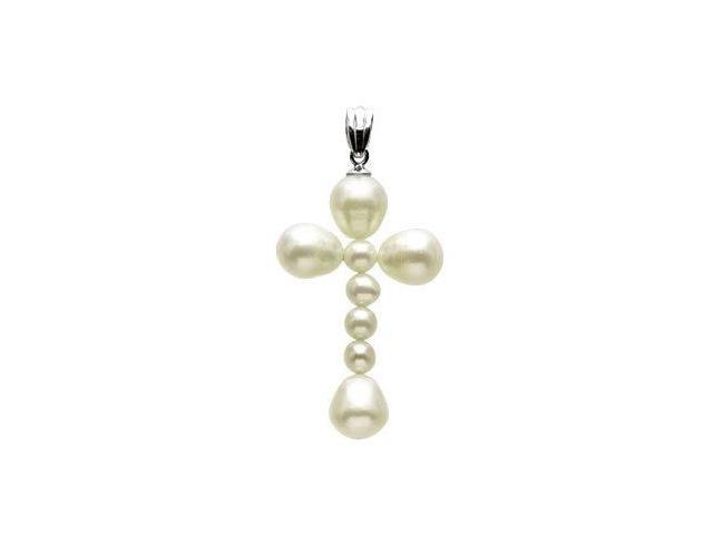 14 Karat White Gold White Pearl Cross Pendant with a chain