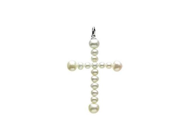14 Karat White Gold White Pearl Cross Pendant
