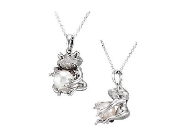 Genuine Sterling Silver Frog Holding White Pearl Pendant with a chain