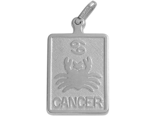 10 Karat White Gold Cancer Zodiac Pendant with Chain