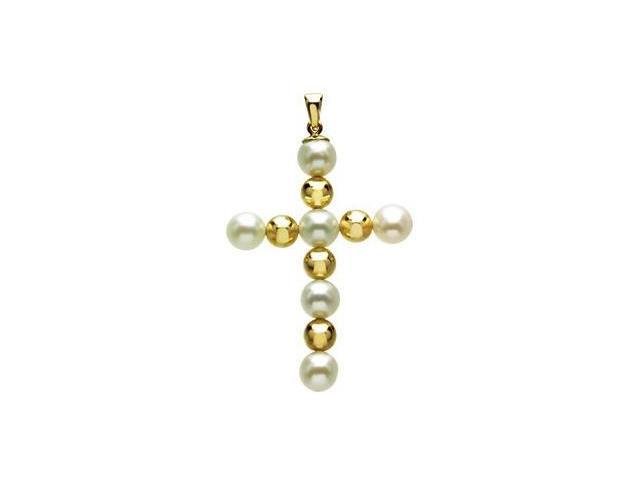 14 Karat Yellow Gold & White Pearl Cross Pendant with a chain