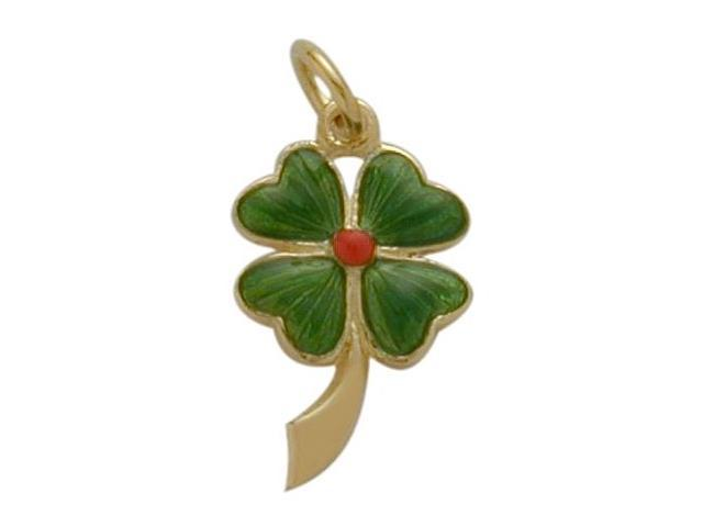 14K Yellow Gold Enamel Four Leaf Clover Pendant with Chain