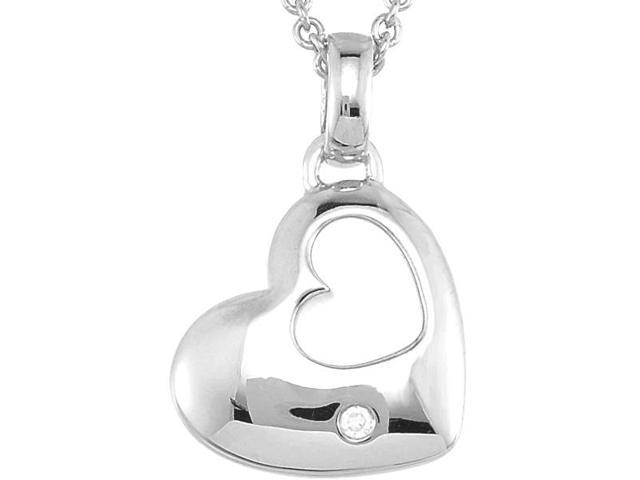 Genuine Sterling Silver and Diamond Heart Pendant with a chain