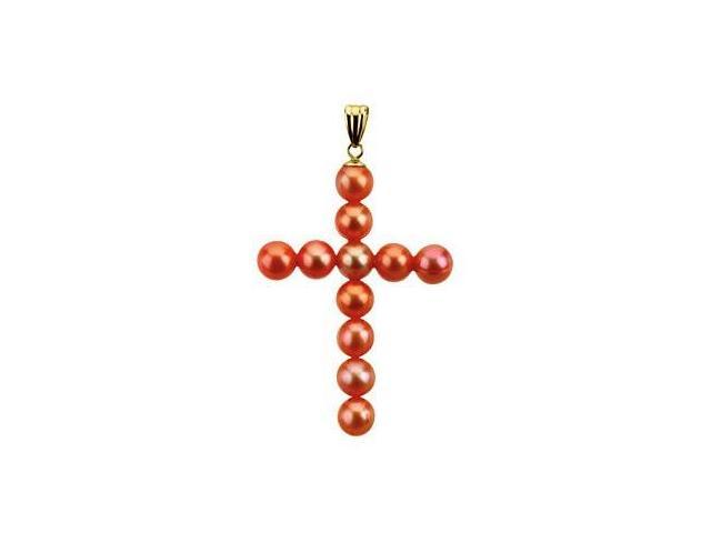 14 Karat Yellow Gold Red-Tone Pearl Cross Pendant with a chain