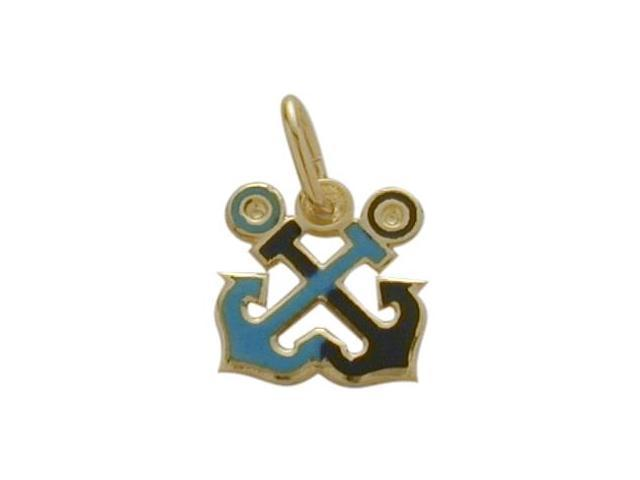 14K Yellow Gold Enamel Double Anchor Pendant with Chain