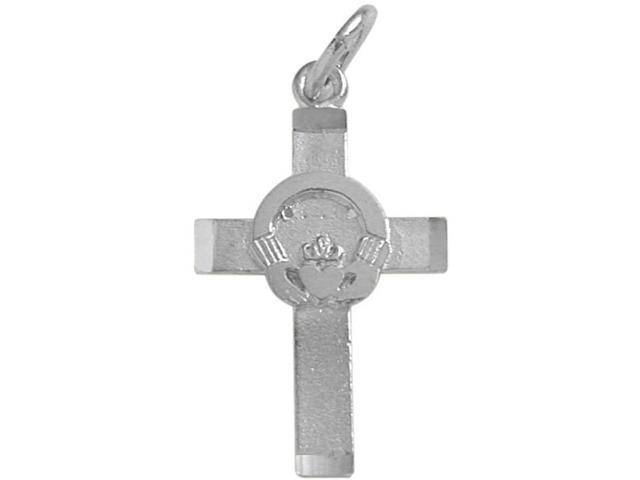 Sterling Silver Satin Finish Claddagh Cross with a  chain