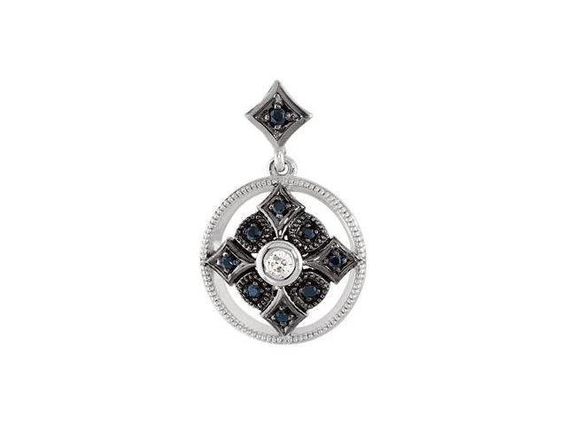 14 Karat White Gold Black Spinel & Diamond Pendant with a chain