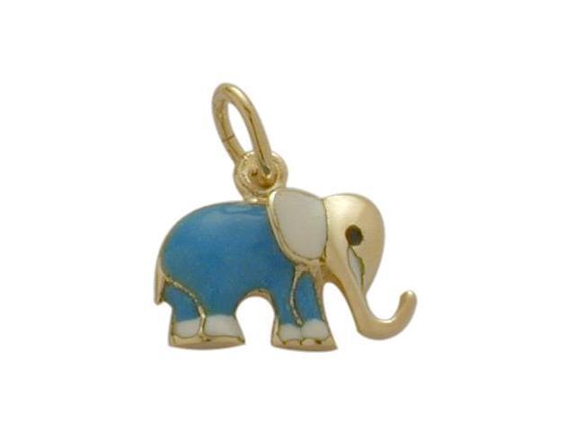 14K Yellow Gold Enamel Elephant Pendant