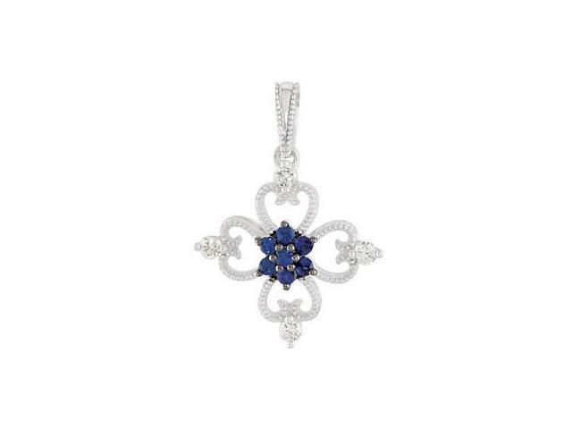 Sterling Silver Sapphire & Diamond Pendant with a chain