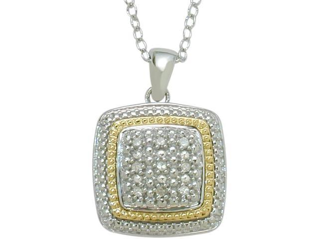 Ladies Genuine Sterling Silver & 14 Karat Gold Two-Tone Pendant with a chain
