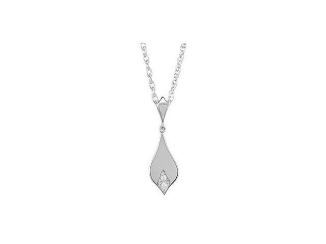 Genuine Sterling Silver Diamond Pendant with a chain