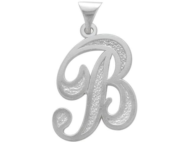 Sterling Silver Fancy Initial B Pendant with Chain