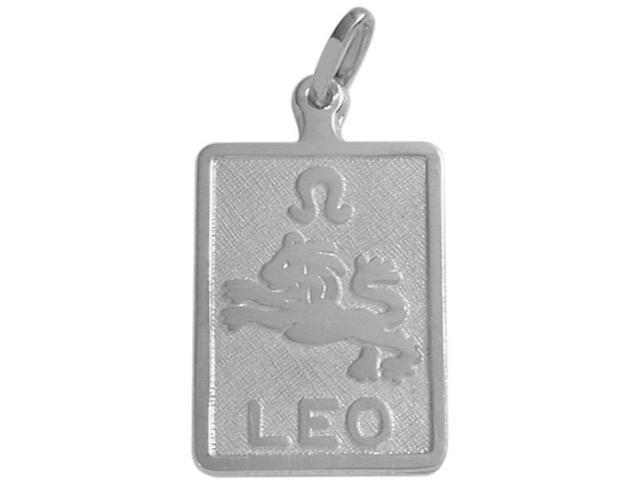 10 Karat White Gold Leo Zodiac Pendant with Chain