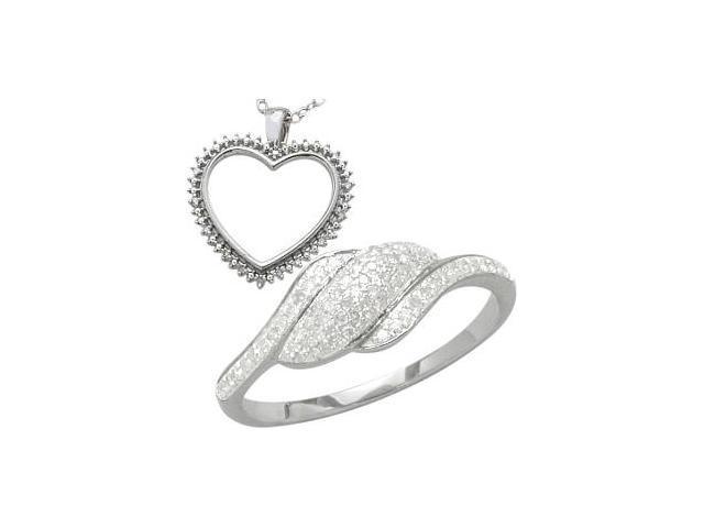 0.29 tcw. White Diamond Heart Pendant & Ring Set