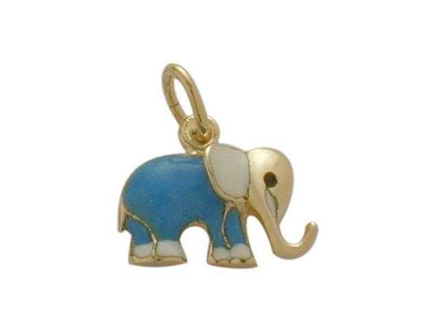 14K Yellow Gold Enamel Elephant Pendant with Chain