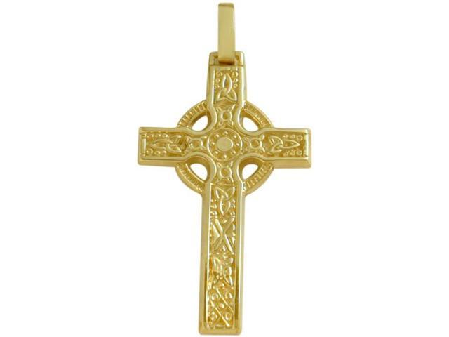 Large 14 Karat Yellow Gold Religious Celtic Cross with a Chain