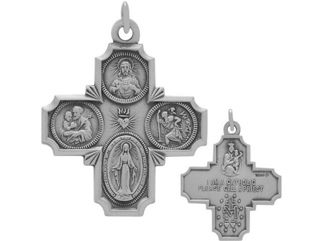 Genuine Sterling Silver Small Saint Religious Cross