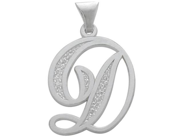 Sterling Silver Fancy Initial D Pendant with Chain