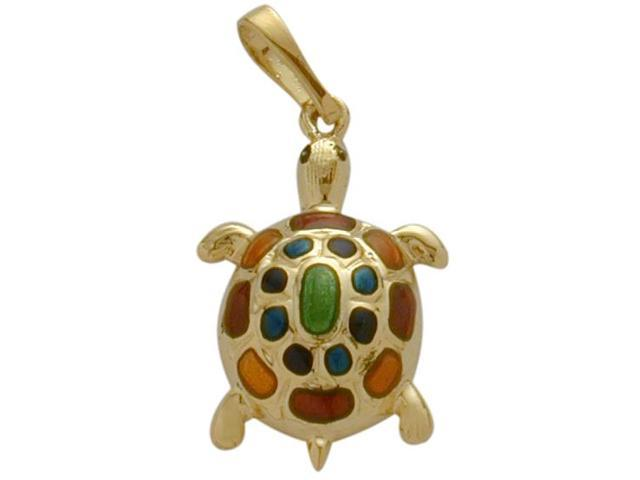 14K Yellow Gold Enamel Turtle Pendant with Chain