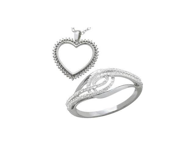 0.27 tcw. White Diamond Heart Pendant & Ring Set