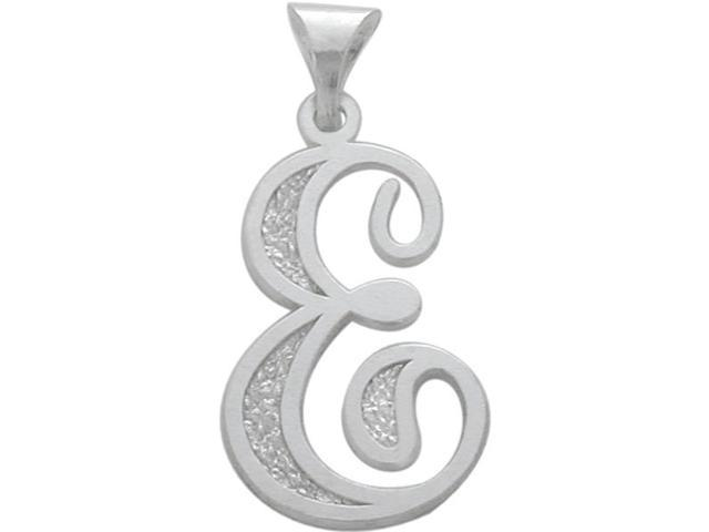 Sterling Silver Fancy Initial E Pendant with Chain