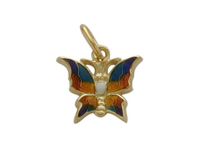 Small 14K Yellow Gold Enamel Butterfly Pendant with Chain