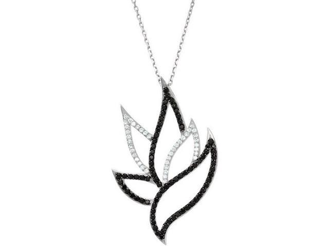 Sterling Silver Black Spinel & Diamond Pendant with a chain
