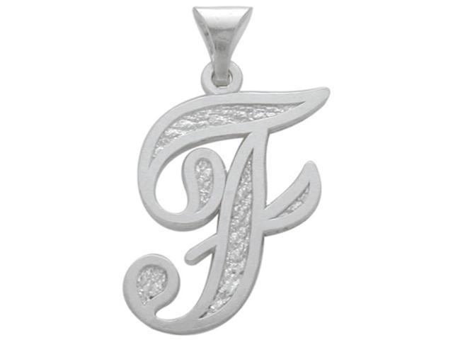 Sterling Silver Fancy Initial F Pendant with Chain