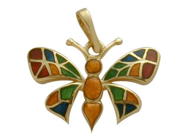 Large 14K Yellow Gold Enamel Butterfly Pendant with Chain