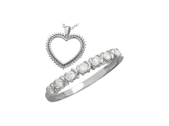 0.30 tcw. White Diamond Heart Pendant & Ring Set