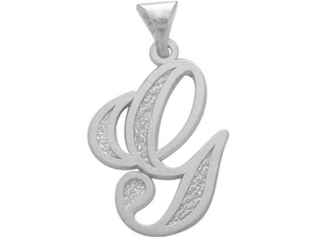 Sterling Silver Fancy Initial G Pendant with Chainv