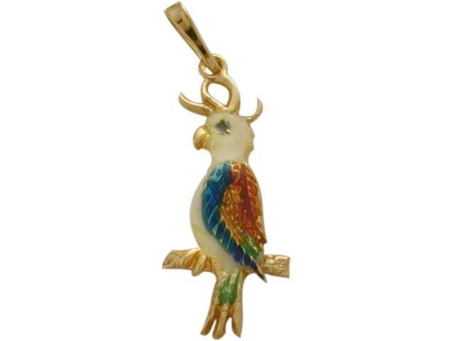14K Yellow Gold Enamel Parrot Pendant with Chain
