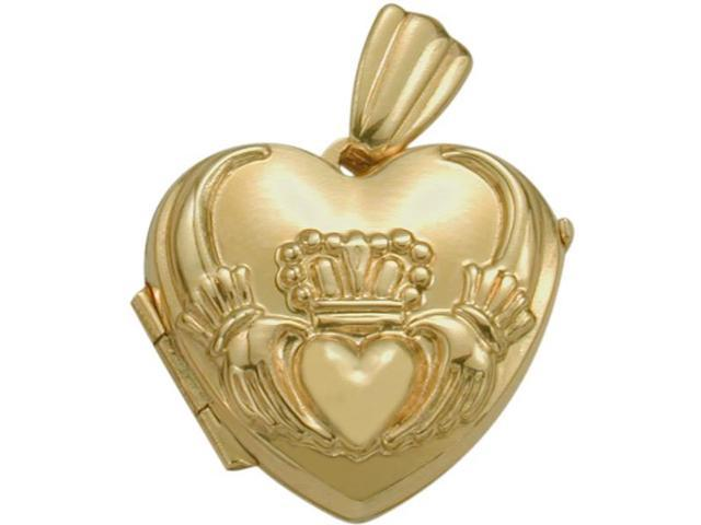 Ladies Yellow Gold Heart Celtic Claddagh Pendant Locket with a Chain