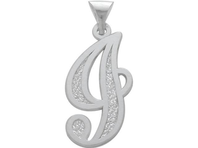Sterling Silver Fancy Initial J Pendant with Chain