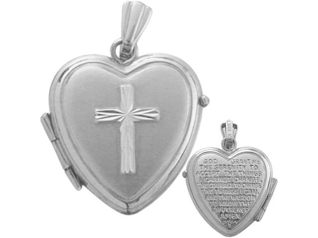 Ladies White Gold Heart Religious Cross Locket with Prayer