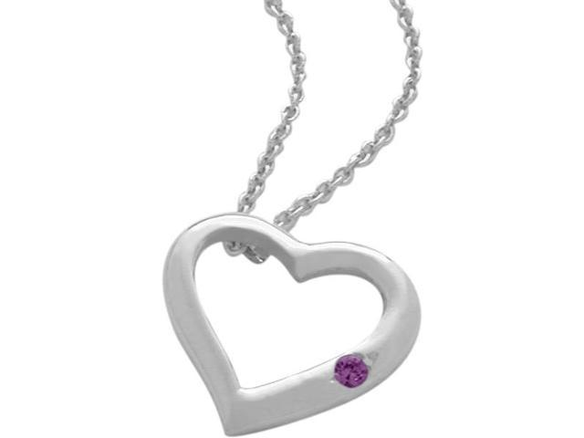 Sterling Silver Genuine Amethyst Heart Pendant with a chain