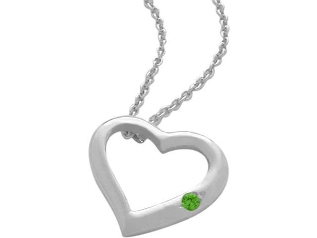 Sterling Silver Created Emerald Heart Pendant with a chain