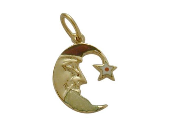 14K Yellow Gold Enamel Moon & Star Pendant with Chain