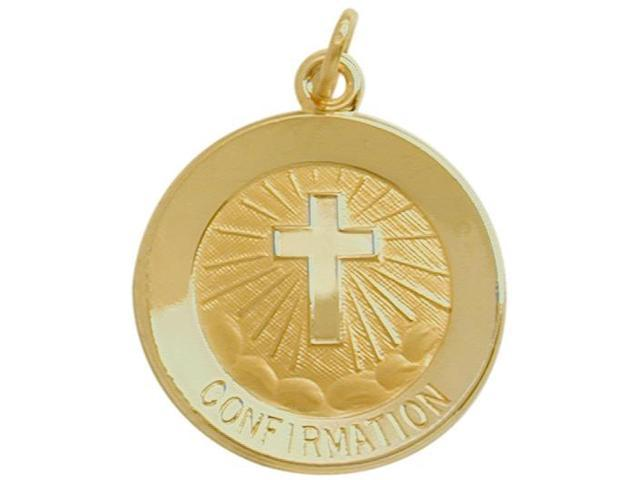 14 Karat Gold High Polish Religious Confirmation Medal Medallion with Chain