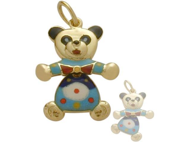 14K Yellow Gold Enamel Moveable Teddy Bear Pendant with Chain