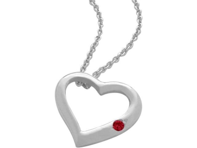Sterling Silver Created Ruby Heart Pendant with a chain