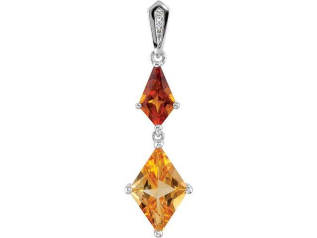 Sterling Silver Genuine Citrine & Diamond Pendant with a chain