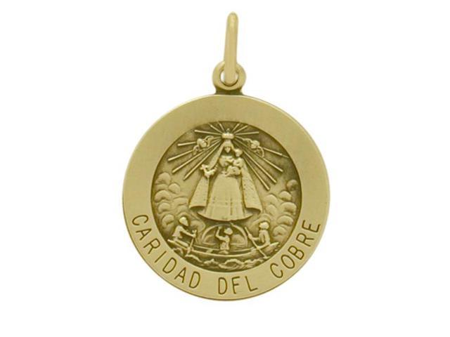 14 Karat Yellow Gold Caridad Del Cobre Religious Medal Religious Medallion with Chain