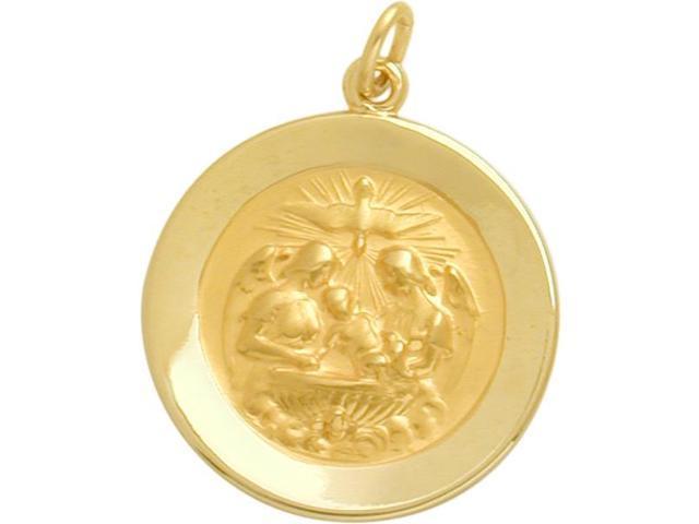 14 Karat Gold High Polish Religious Baptismal Medal Medallion with Chain