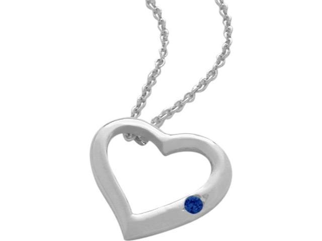 Sterling Silver Genuine Sapphire Heart Pendant with a chain