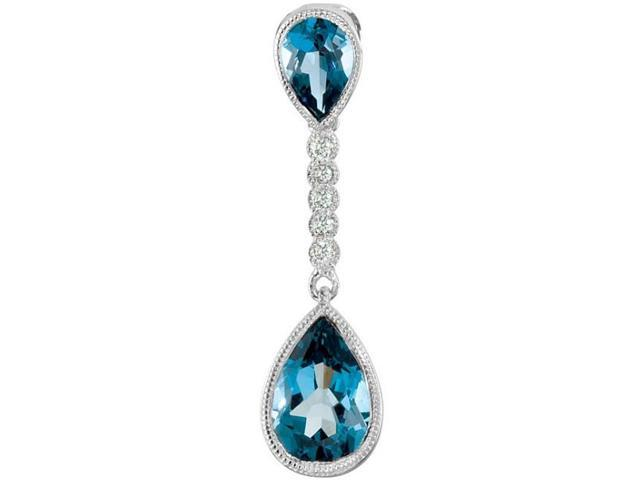 Genuine Sterling Silver Blue Topaz & Diamond Pendant with a chain