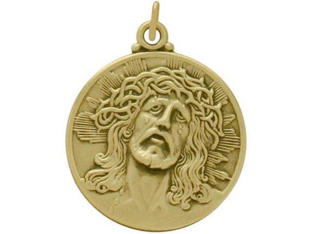 Large 14 Karat Yellow Gold Jesus Religious Medal Religious Medallion with Chain