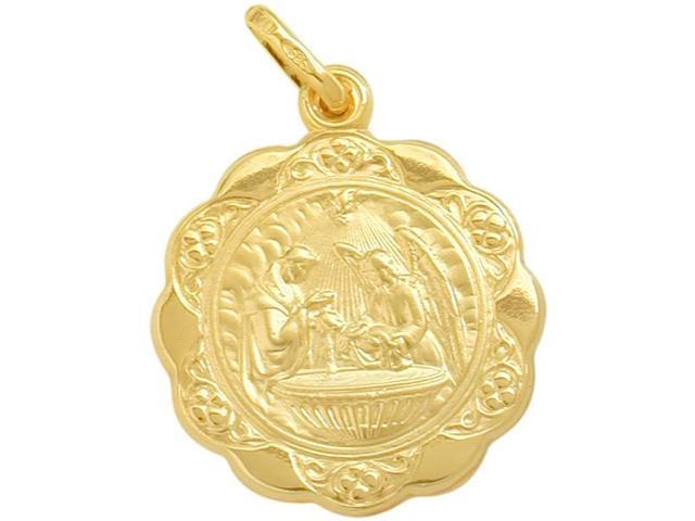 14 Karat Gold Inscribed Religious Baptismal Medal Medallion with Chain